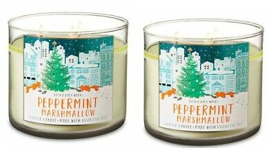 QTY 2X Bath and Body Works 3 Wick 14.5 Ounce Candle Peppermint Marshmallow