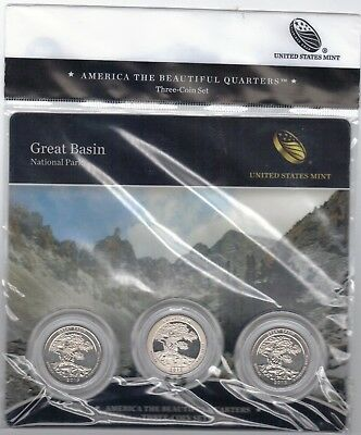 BU sealed 2013 Great Basin PDS ATB 3-coin set National Parks US Mint quarters
