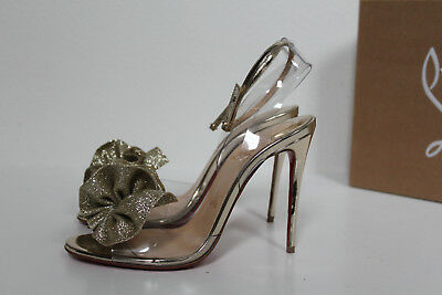 4b62a5c0af New sz 5 / 35 Christian Louboutin Fossiliza Gold Clear Ankle Strap Sandal  Shoes