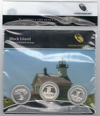 New BU 2018 Block Island Nat'l Wildlife Refuge PDS mints ATB 3-coin set quarters