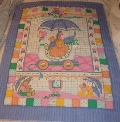 BABY CRIB BLANKET QUILT ~ GOOSE BUGGY with ANIMALS ~ HOMEMADE - FINISHED EDGES