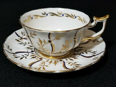 ROYAL CHELSEA BONE CHINA REGAL 189A GOLD BLUE Cup & Saucer