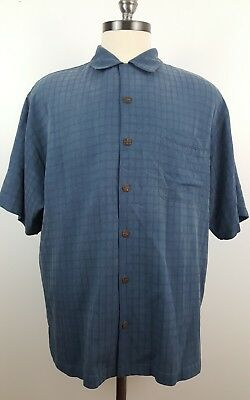 TOMMY BAHAMA Large Blue Silk Embroidered Island Rider Short Sleeve Mens Shirt