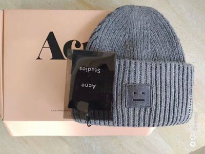 44a567a79c3 2019 NEW Gray Acne Studio Pansy S face Ribbed Wool beanie knit hat hat cap