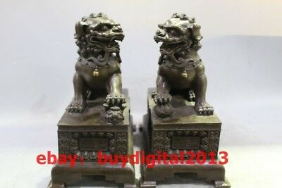 "10"" China Feng Shui Pure Bronze Door God Foo Fu Dog Guardian Lion Statue Pair"