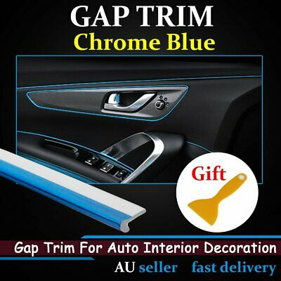 Chrome Blue Auto Car Gap Trim Panel Dash Door Edge Garnish Moulding Strip 7.5Ms