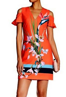 e340942ac4 NWT TED BAKER Leea Mid-Red Floral Cold Shoulder Short Dress Size TED4 US10   279