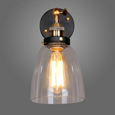 Indoor Wall Sconce Clear Glass Lamp Shade Wall Light Swing Arm Single Light Bulb