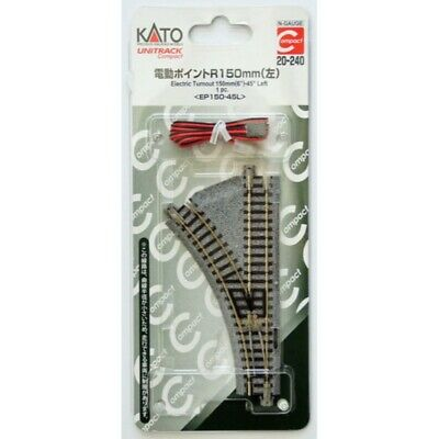 """Kato 20-240 - Unitrack Compact 150mm (6"""") Electric Turnout, Left - N Scale"""