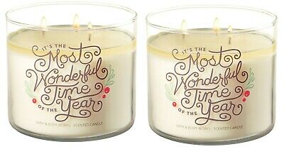 QTY 2X Bath and Body Works 3 Wick 14.5 Ounce Candle Fresh Balsam Most Wonderful