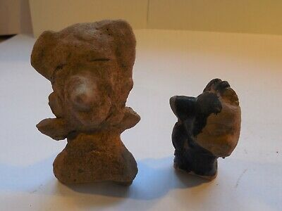 2 Veracruz Remojadas Figures Pre-Columbian Antiquities Ancient Artifacts Mayan
