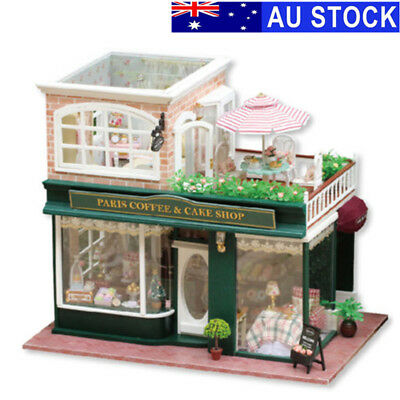 Wooden Dollhouse Coffee Cake Shop LED Light Doll House Furniture DIY Toy Kits AU