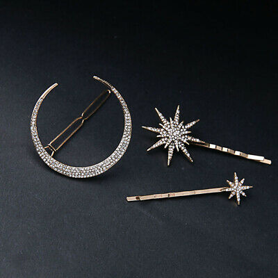 3Pcs Women Girls Crystal Rhinestone Moon Star Hair Barrettes Hair Clips Set