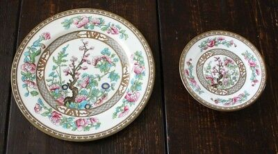 """Aynsley INDIAN TREE Salad Plate 8-1/2"""" & Footed Trinket Stand 5"""" England"""