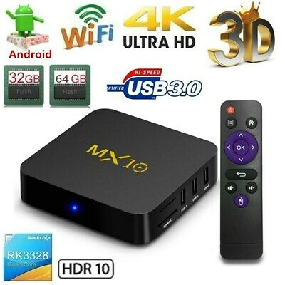 MX10 Android 9.0 TV Box RK3328 4K 4GB/32GB DLNA Miracast WiFi HD Media Player