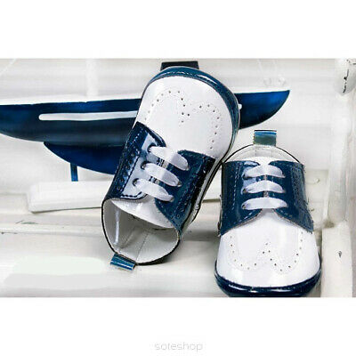 BABY BOY PATENT SOFT SHOES CHRISTENING WEDDING SMART FORMAL PARTY Navy White