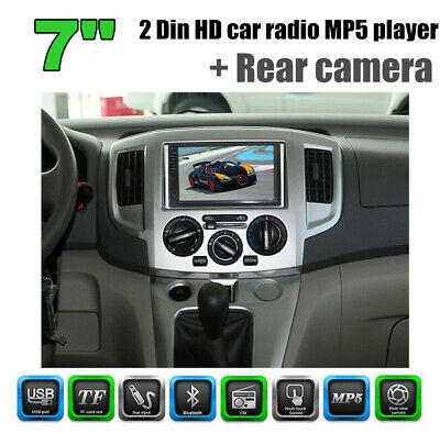 """7"""" Inch 2 DIN HD MP5 Bluetooth Touch Screen Car Radio Stereo Player +Rear camera"""