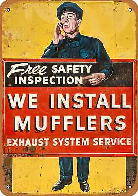 Metal Sign - We Install Mufflers - Vintage Look Reproduction