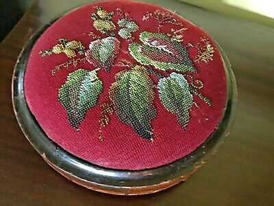 Antique Beadwork Tapestry Wooden Foot Stool