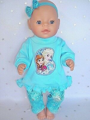 "Dolls clothes  for 17"" Baby Born  doll~FROZEN SISTERS AQUA TOP~VELOUR LEGGINGS"