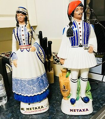 Mataxa Hand Painted Greek Figurine Liqueur Bottles 1970s Made In Italy