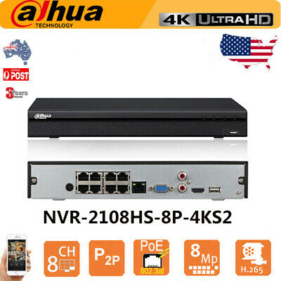 Dahua 8CH 8 POE DVR NVR 2108HS-8P-4KS2 4K 8MP H.265 Ultra HD For Dahua IP Camera
