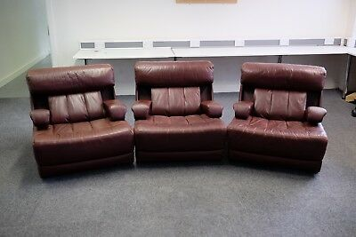 Tetrad Modular Vintage Sofa/Armchairs - SET OF THREE - Brown/Red