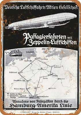 Vintage Look Reproduction 1912 German Zeppelin Routes Metal Sign