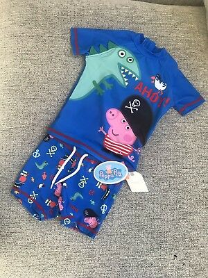 Baby Boy Peppa Pig Two Piece Swim Set Swimsuit Swimwear 12-18 Months