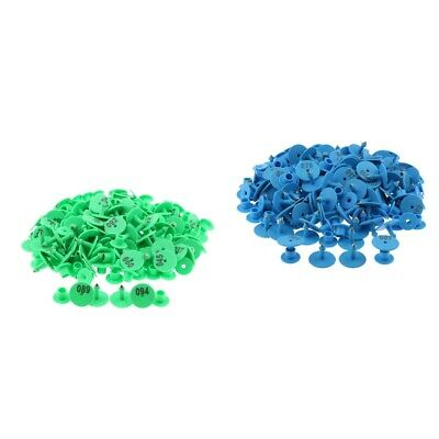 200PCS 0-100 Livestock Ear Tag for Pig Cow Cattle Goat Sheep Blue /& Green