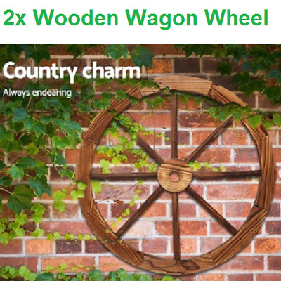 2 x Large Fir Timber Wooden Wagon Wheel Garden Decor Outdoor Wall Feature