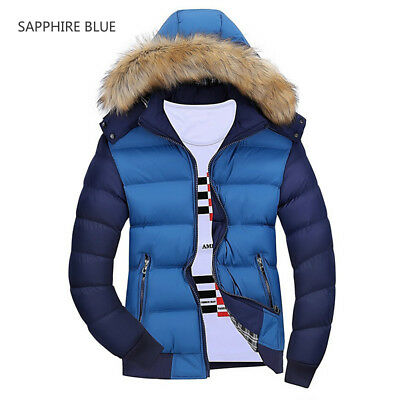 Mens Quilted Puffer Jacket Hooded Padded Down Cotton Coat Outwear Winter Warm