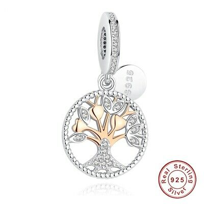 Silver Family Tree Gold Charm Rose Sterling 925 Bead Pandora Authentic Dangle Be