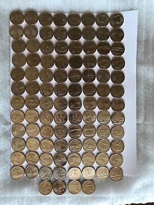 State Quarters 100 Coins 50 D & 50 P Uncirculated Issued 1999 - 2008 Complete