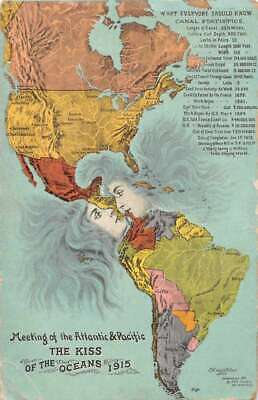 "/""The Kiss of the Oceans/"" 1915 Panama Canal Exposition Vintage Repro 16x20 Poster"
