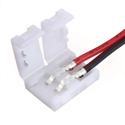 10X 2Pin Connector Solderless For Single Color 10mm 5050 3528 Led Strip Light