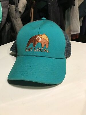 fc75b0689 PATAGONIA EAT LOCAL Bear with Fish TRUT LoPro Trucker Hat - EUR 26 ...
