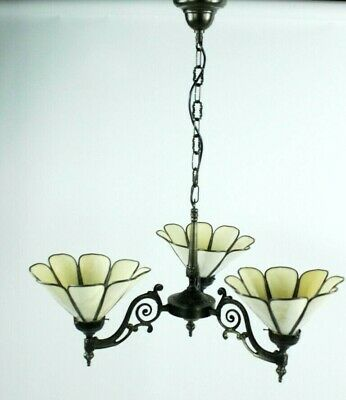 Antique Victorian 3 arm chandelier with Tiffany shades - Parts or Repair  [4956]