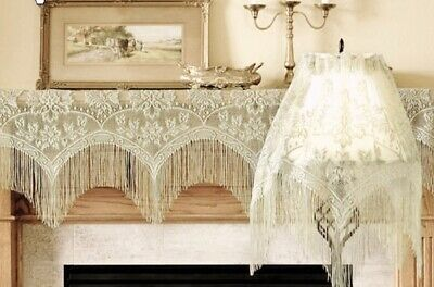 Window Lace Valance Ivory 3 in 1 Mantel or Lamp Shade Cover Livingroom