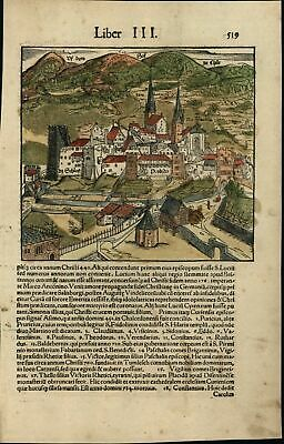 Chur Switzerland city view c.1552 Munster rare map w/ orig. early hand color