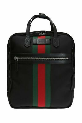 47cb2294223 Gucci Black Canvas with Green and Red Web Stripe Satchel Backpack 495558