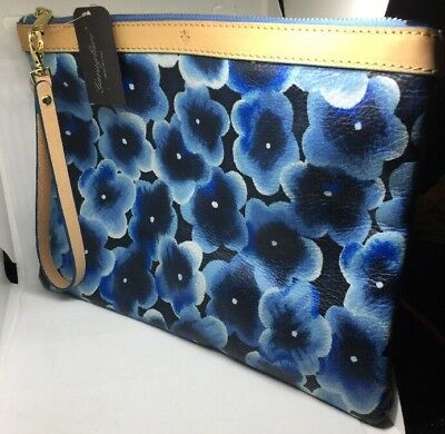 Garuglieri Blue Floral Leather Wristlet Clutch Cosmetic Bag Large Made In  Italy 3d302658229b4