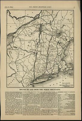 White Mts. New Hampshire 1884 Railroad routes to visit rare large newspaper map