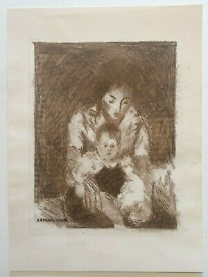 """Raphael Soyer Original Lithograph """"Mother and Child"""" signed in the stone"""