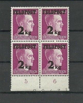 Germany 1944 Third Reich WWII FELDPOST FIELD POST HITLER 2 kg ovpt. MNH OG #4
