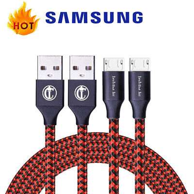2-PACK Micro USB Cable Nylon Braided Fast Charger for Samsung Galaxy S7 S6 HTC