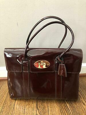 8b1cb9d879b1 MULBERRY Bayswater Burgundy Patent Leather Tote Bag