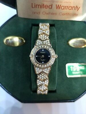 Vintage Lucien Piccard Woman's Watch With Crystals Everywhere! New Old Stock!!!