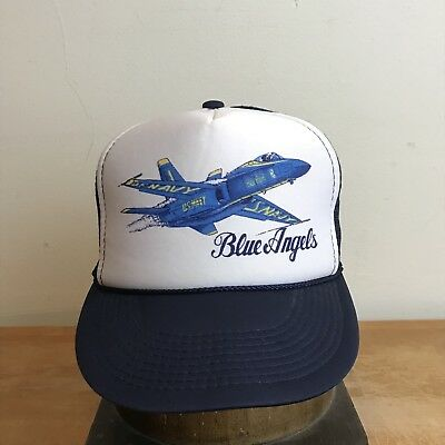 fa7261ef0df Vintage Snapback Trucker Cap Hat 80s Blue Angels US Navy USN Youth Kids  Military
