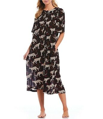 659112c9035 Go Softly Patio Leopard-Print Button Front Crinkled Patio Dress F82DG402  Size S